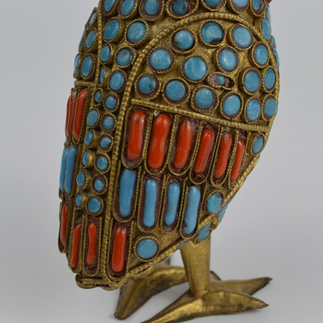 Nepalese Brass Owl Figurine With Turquoise and Coral For Sale - Image 10 of 13