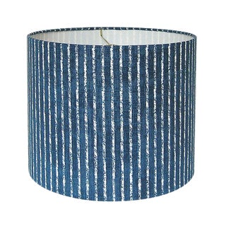 New, Made to Order, Magnolia Home Skyfall Navy Striped Fabric in Navy, Medium Drum Lamp Shade For Sale