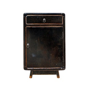 Distressed Black Lacquer Drawer Retro End Table Nightstand For Sale