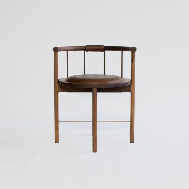 Solid wood construction / zero voc oil finished / brushed brass or bronze rungs / leather wrapped back support / recessed...