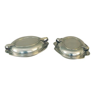 1920s French Silver Art Deco Covered Food Serving Bowls - Set of 2 For Sale