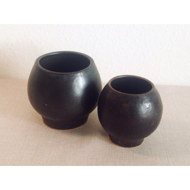 2010s Boho Chic Modern Black Sphere Stoneware Vase/Planter For Sale - Image 5 of 8
