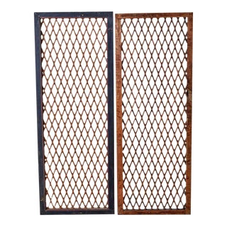 Pair of Chinese Geometric Lattice Window Panels For Sale