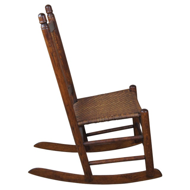 Arts & Crafts Antique Arts & Crafts Oak & Rattan Rocking Chair For Sale - Image 3 of 9