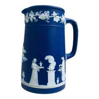 Blue and White Wedgwood Jasperware Pitcher For Sale