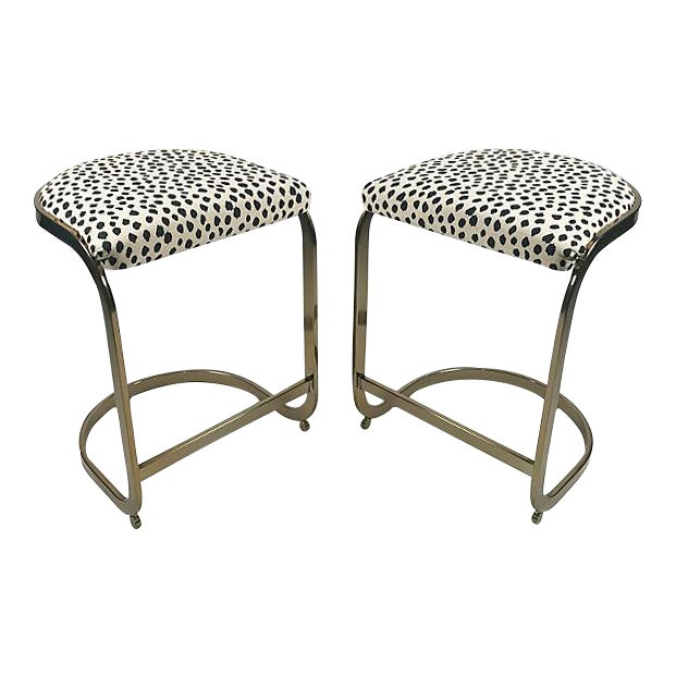 Milo Baughman Style Brass Cantilever Stools - A Pair For Sale