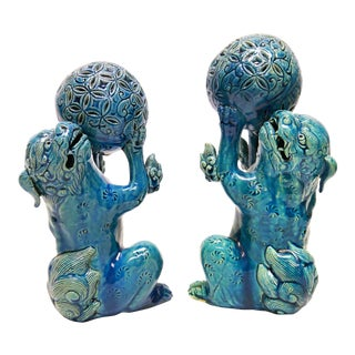 Late 19th to Early 20th C. Turquoise Japanese Foo Dogs For Sale