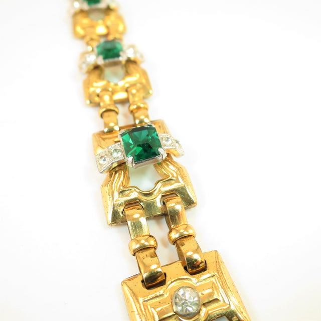 Art Deco McClelland Barclay Geometric EmErald Bracelet 1930s For Sale In Los Angeles - Image 6 of 11