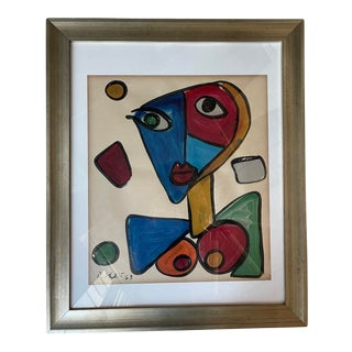 Mid 20th Century Cubist Style Face Portrait Painting by Peter Keil, Framed For Sale