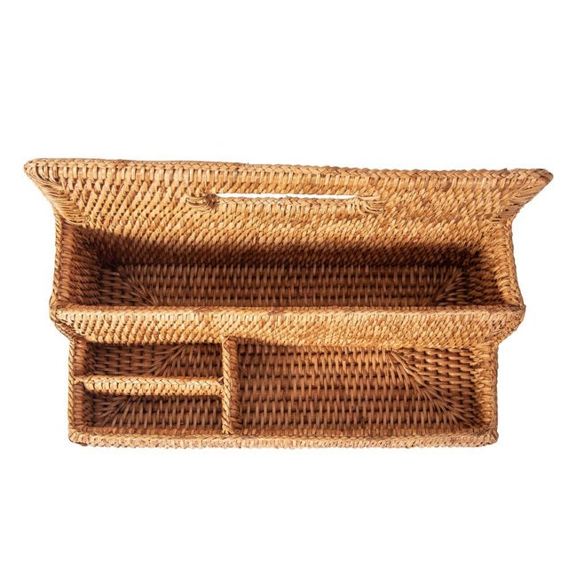 Wood Artifacts Rattan Standing Stationary Sorter in Honey Brown For Sale - Image 7 of 11