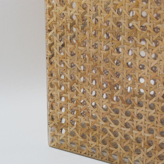 Metal Christian Dior Home Collection 1970s Lucite and Rattan Waste Basket For Sale - Image 7 of 11