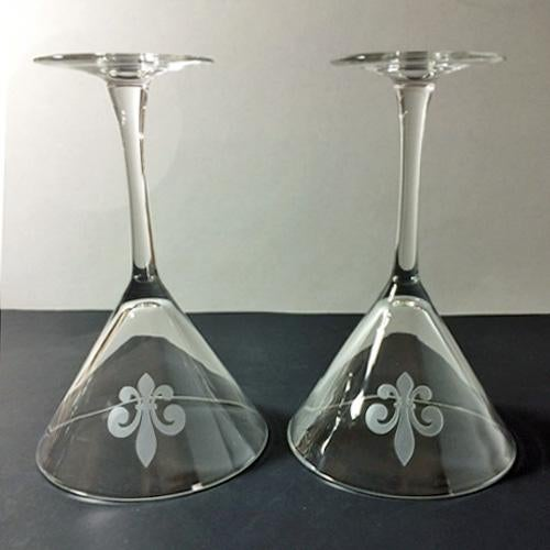 French Fleur De Lis Etched Martini Glasses - a Pair For Sale - Image 3 of 5