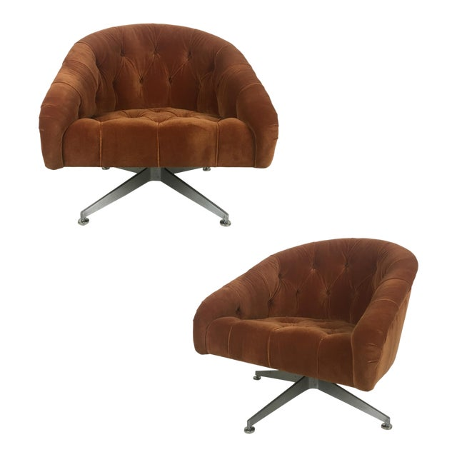 Tufted Swivel Chairs by Ward Bennet for Lehigh Leopold - a Pair For Sale