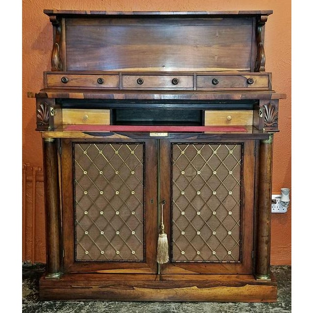 18c British Regency Bureau Secretaire Chiffonier in the Manner of Gillows For Sale - Image 4 of 13