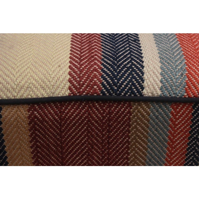 Arshs Dong Brown/Blue Kilim Upholstered Handmade Ottoman For Sale In New York - Image 6 of 8