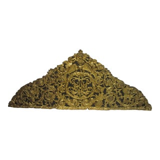Victorian Decorative Brass Over Mantel Fragment For Sale