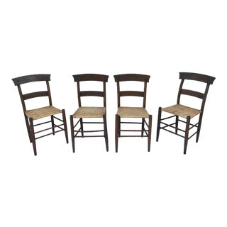 Set of 4 Woven Antique Rustic Wood Chairs For Sale