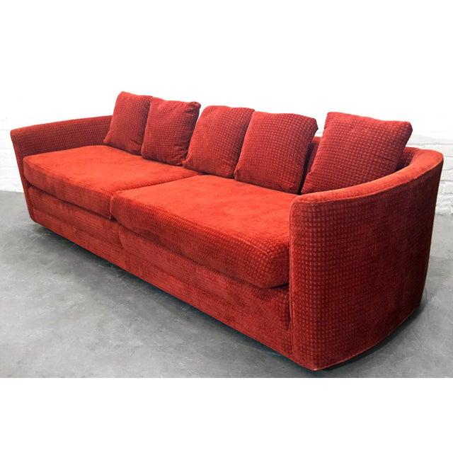 Custom Mid-Century Sofa in Rust Colored Chenille - Image 3 of 5