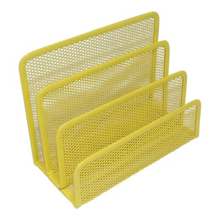 Abstract Yellow Metal Office Desk Mail Sorter For Sale