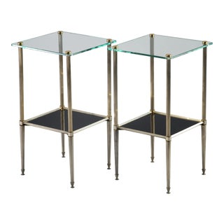 Pair Silvered Brass Side Tables With Square Glass Top and Lower Shelf of Black Glass