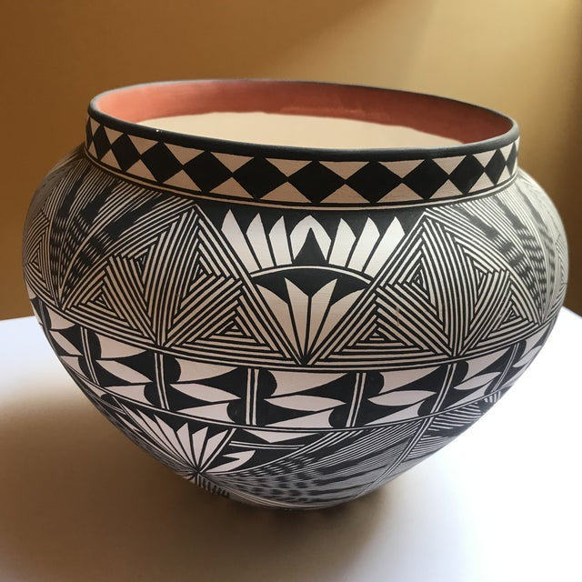 Acoma Pueblo Pottery Polychrome Bowl Signed Chino For Sale - Image 13 of 13