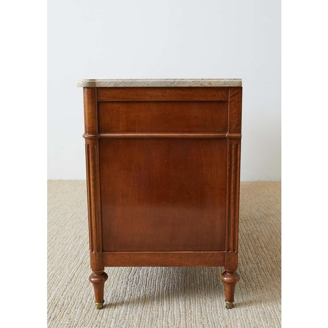 Pair of Louis XVI Style Marble Top Commodes or Dressers For Sale - Image 11 of 13