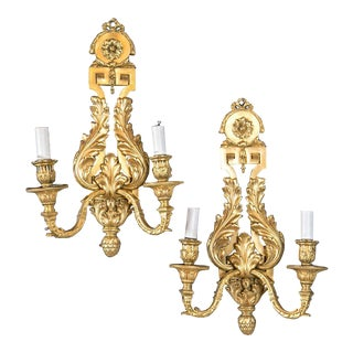 1900s Caldwell Neoclassical Style Gilt Bronze Sconces - a Pair For Sale