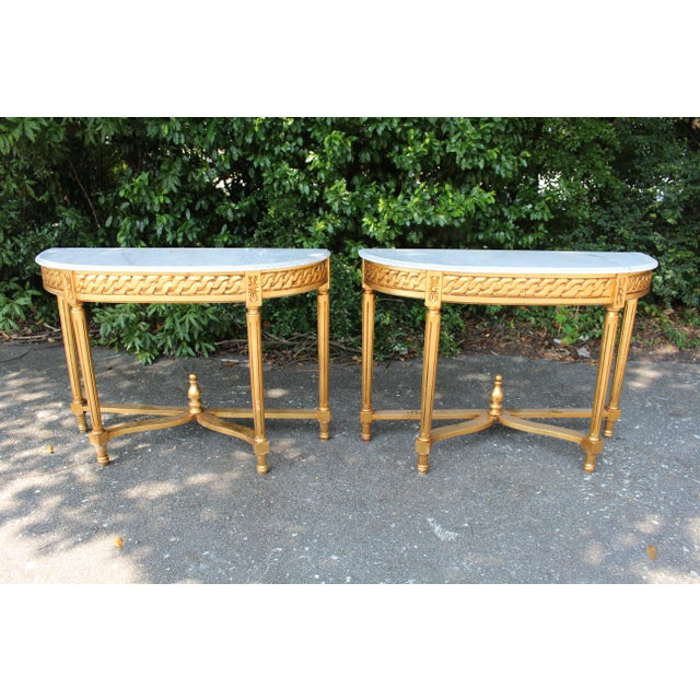 Late 20th Century Late 20th Century Vintage French Demi-Lune Table For Sale - Image 5 of 10