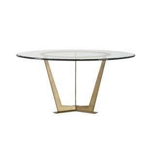 Contemporary Kravet Glass and Steel Dining Table For Sale