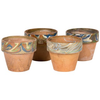 Set of Four Decorated and Glazed Rim Pots From 1960s England For Sale