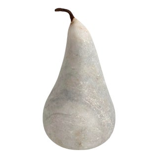 Extra Large White Marble Pear For Sale