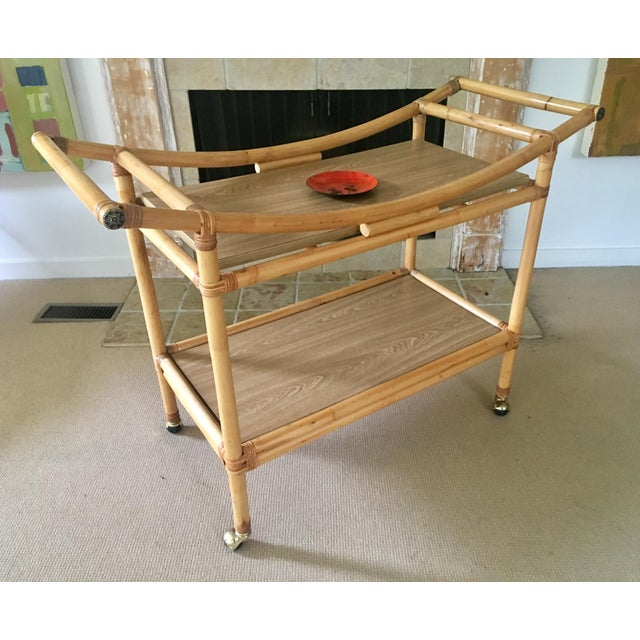 Asian Mid-Century Bamboo Bar Cart For Sale - Image 3 of 10