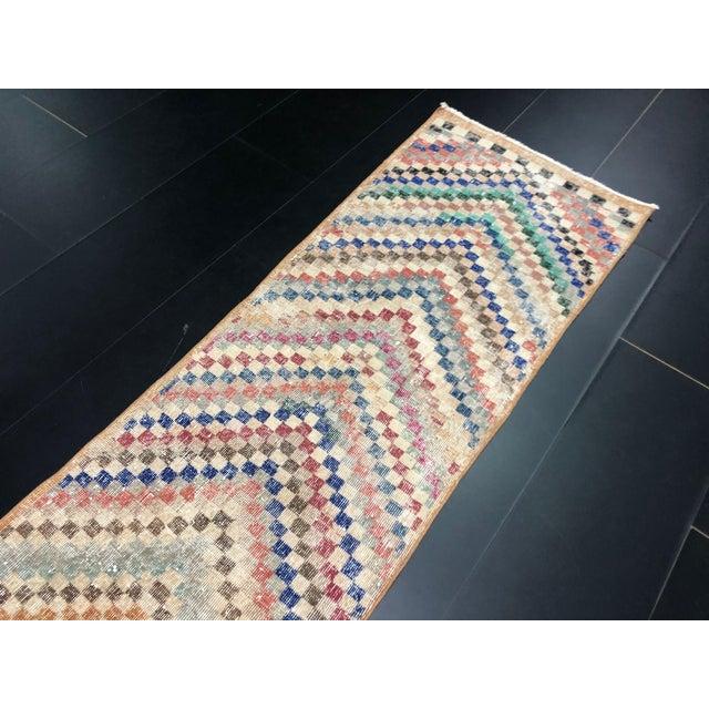 Textile Vintage Geometric Design Turkish Anatolian Wool Runner For Sale - Image 7 of 11