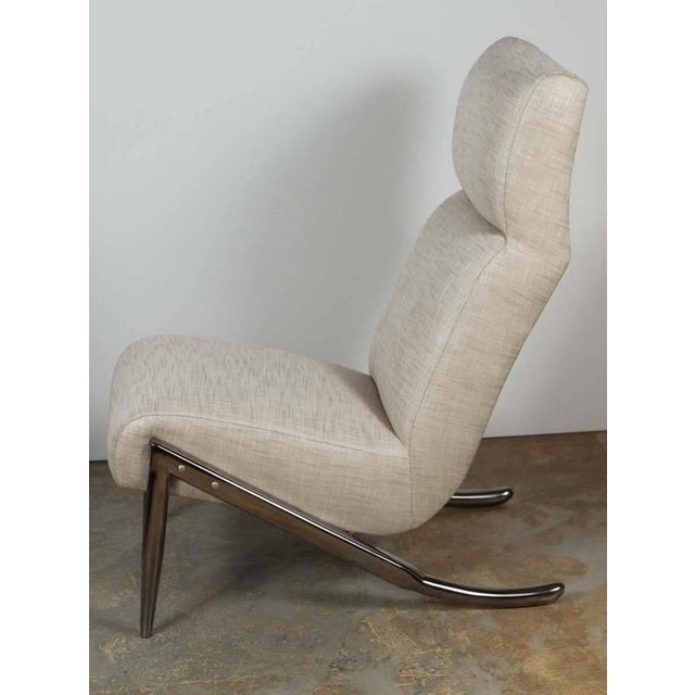 Contemporary Paul Marra Slipper Chair in Black Nickel with Linen For Sale - Image 3 of 7