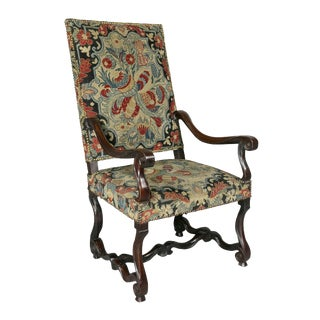 Louis XIV Walnut and Needlepoint Armchair For Sale