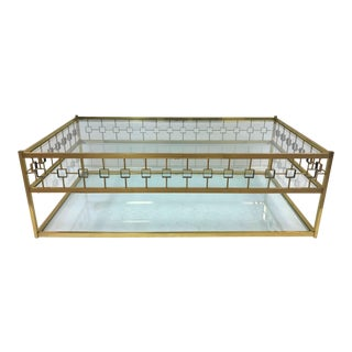 Three-Tier Maison Jansen Style Brass and Glass Coffee Table For Sale