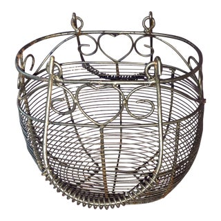 Vintage Shabby Chic French Country Wire Gathering Basket For Sale