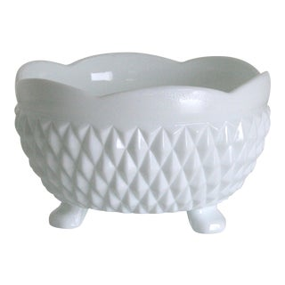 Vintage Mid-Century Milk Glass Footed Catchall Bowl For Sale