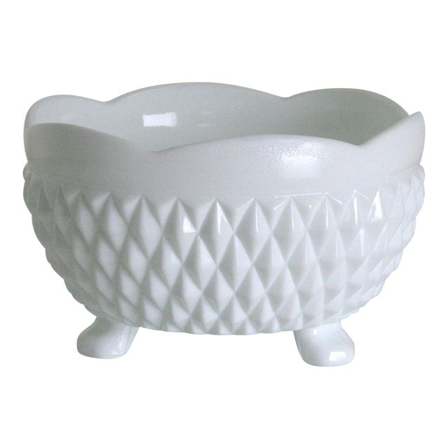 Vintage Mid-Century Milk Glass Footed Catchall Bowl or Candy Dish For Sale