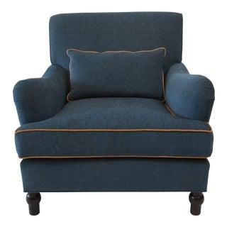 Custom Upholstered Teal Blue Armchair