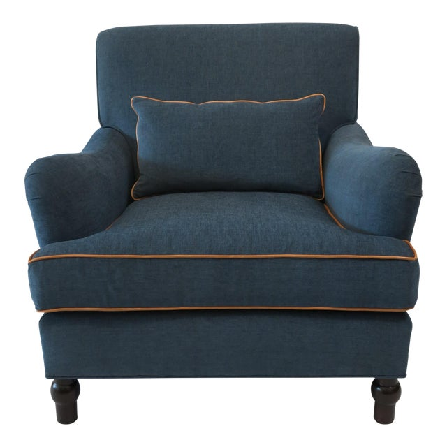 Custom Upholstered Teal Blue Armchair - Image 1 of 7