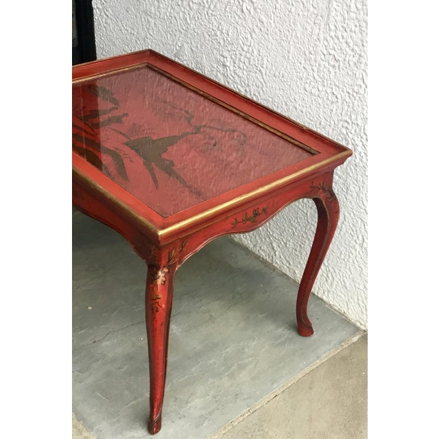 1950s Chinoiserie Red Hand Painted Coffee Table For Sale - Image 4 of 13