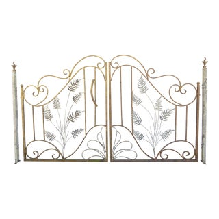 Antique Iron Fern Frond Double Door Freestanding Gate W/ Posts For Sale