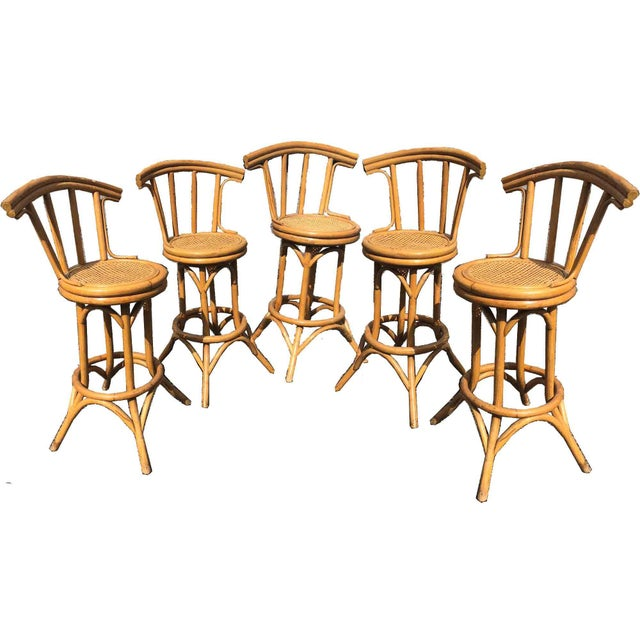 Mid-Century Bamboo and Cane Tiki Bar Stools - 5 Pc. Set For Sale - Image 9 of 9