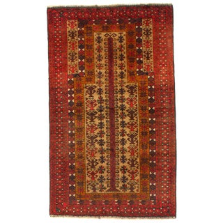"""Pasargad Ny Afghan Baluch Wool Rug - 2'8"""" X 4'6"""" For Sale"""