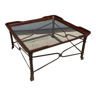 Leather Wrap Iron Base Coffee Table For Sale