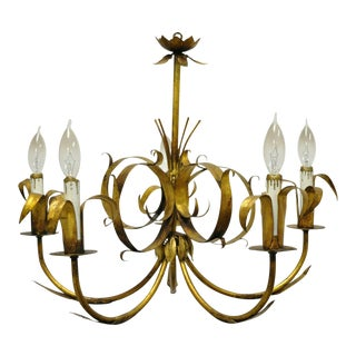 Vintage Ferrocolor Italian Hollywood Regency Gold Gilt Tole Metal Chandelier For Sale