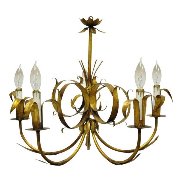 Vintage Ferrocolor Italian Hollywood Regency Gold Gilt Tole Metal Chandelier For Sale