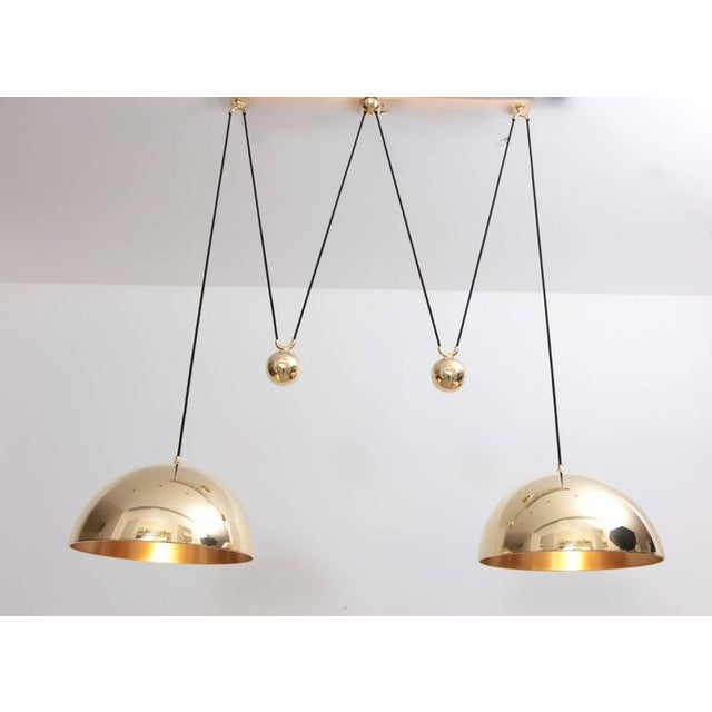 1960s Florian Schulz Double Posa Brass Pendant Lamp With Side Counter Weights For Sale - Image 5 of 5