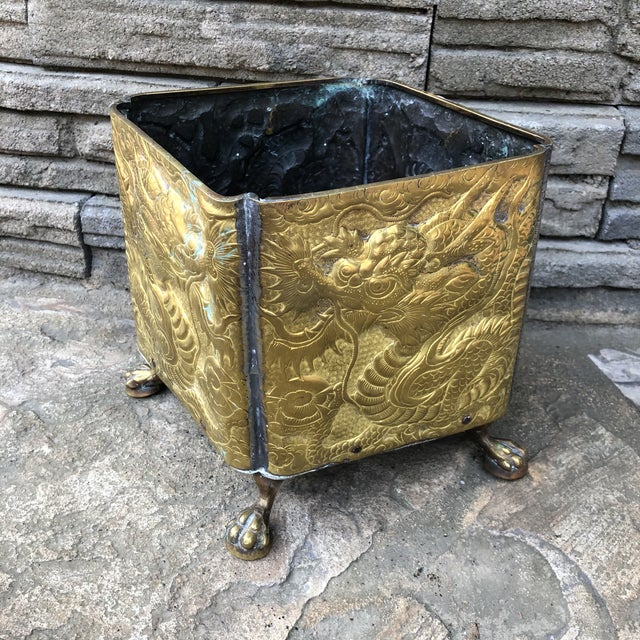 Brass 20th Century Chinese Embossed Dragon Footed Brass Planter For Sale - Image 7 of 9